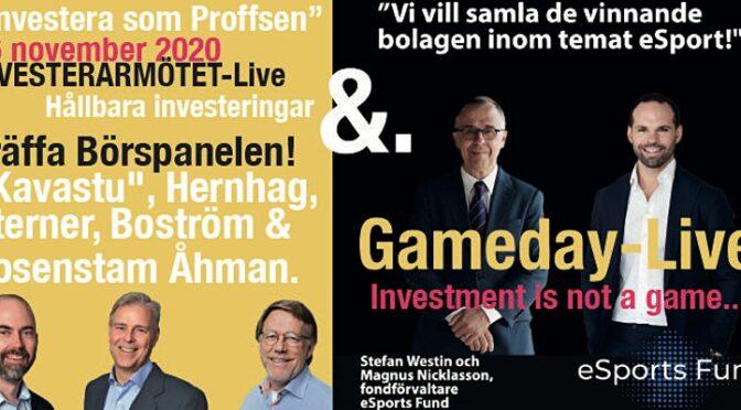 """""""Investera som Proffsen"""" 26 NOVEMBER med BÖRSPANELEN """"KAVASTU"""", HERNHAG m.fl."""