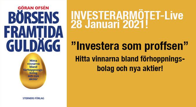 """Investerarmötet-Live 28 januari! """"Börsens framtida guldägg"""""""