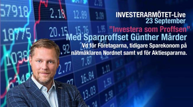 Ta del av inspelning från Investerarmötet-Live med Günther Mårder!